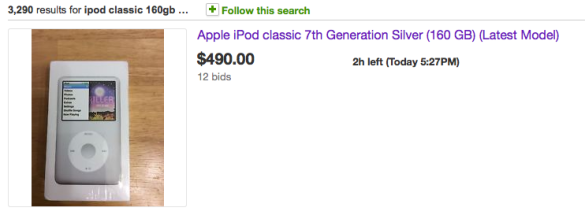 Bidding wars have begun.  I'm not sure that I need a discontinued iPod this badly!